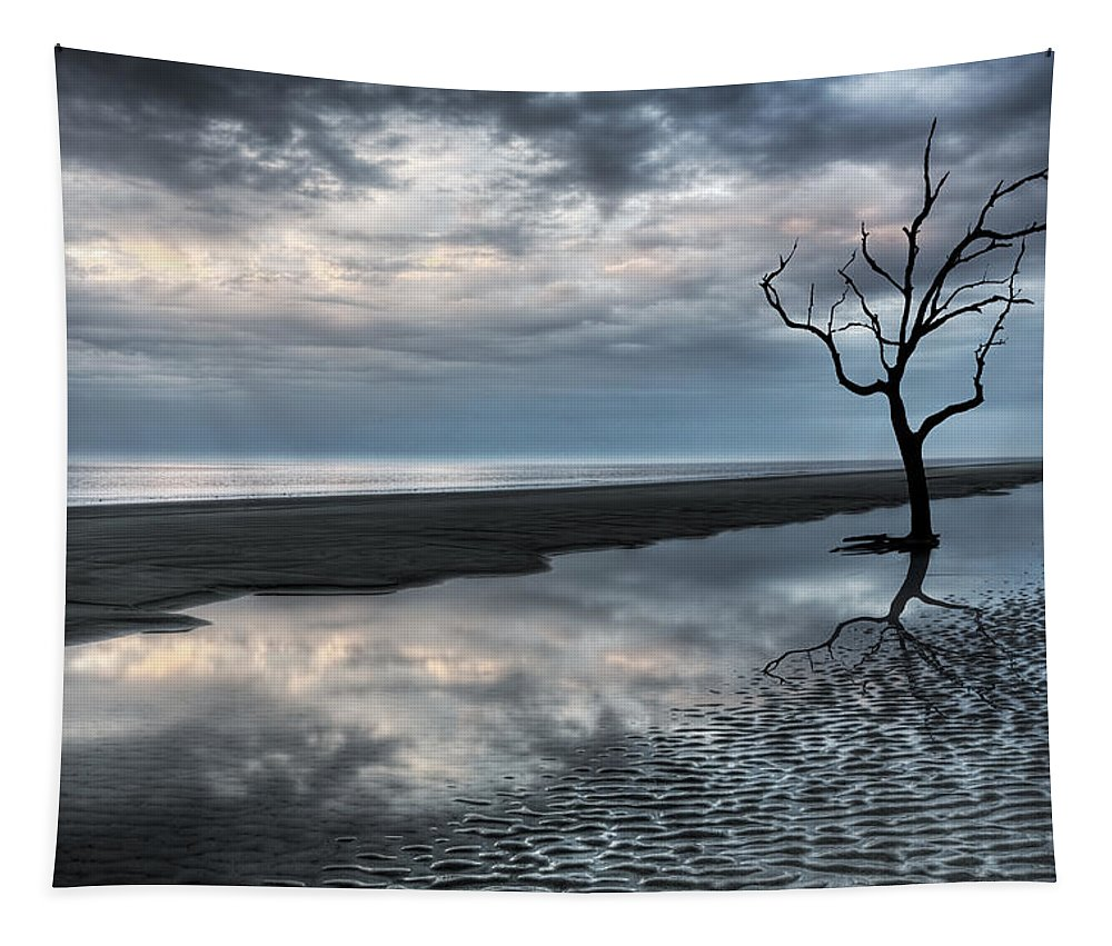 Clouds Tapestry featuring the photograph Alone by Debra and Dave Vanderlaan