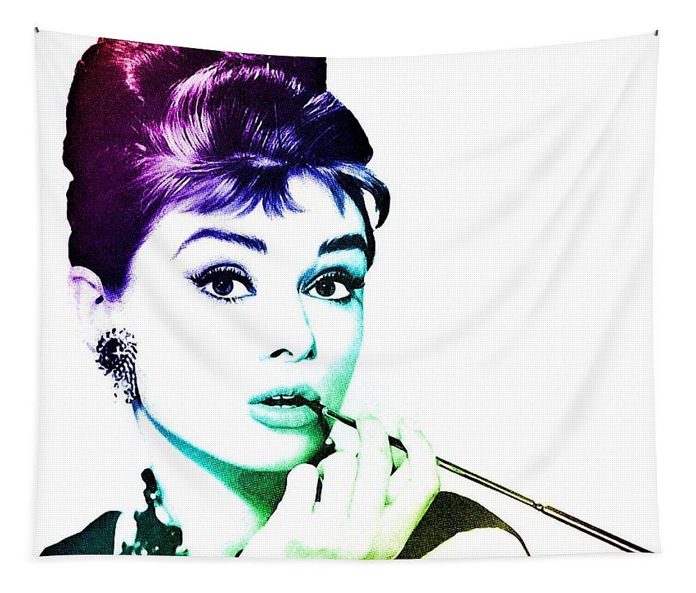 Audrey Hepburn Tapestry featuring the digital art Audrey Hepburn by Marianna Mills