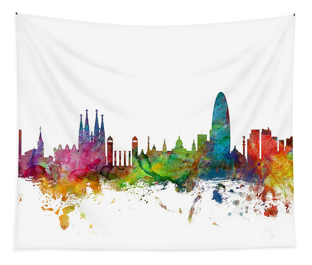 Barcelona Tapestry featuring the digital art Barcelona Spain Skyline by Michael Tompsett