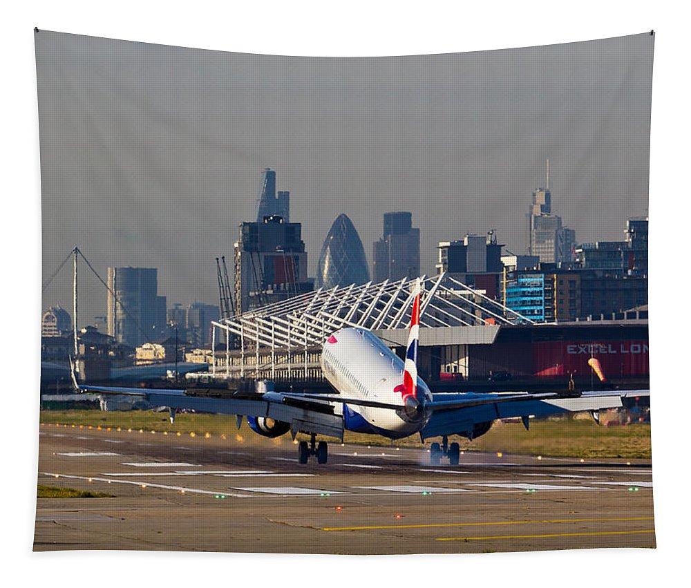 British Airways Embraer Tapestry featuring the photograph British Airways London by David Pyatt