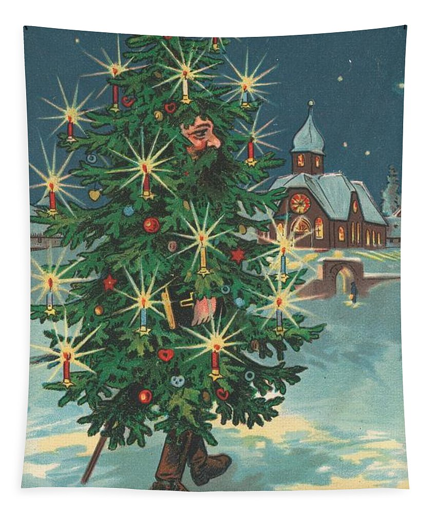 Cards; Men; Costumes; Decorations; Christmas; Trees; Snow; British Christmas; Card Tapestry featuring the painting Christmas Card by English School