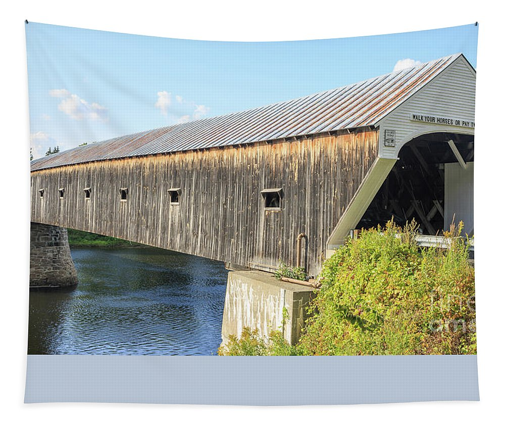 Vermont Tapestry featuring the photograph Cornish-Windsor Covered Bridge III by Edward Fielding