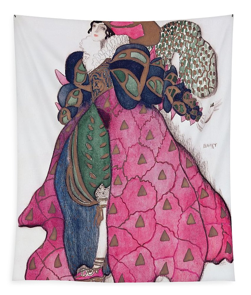Dress Tapestry featuring the drawing Costume Design For The Ballet La by Leon Bakst