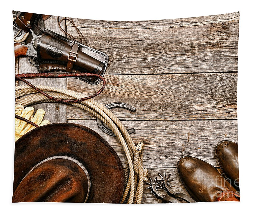 Western Tapestry featuring the photograph Cowboy Gear by Olivier Le Queinec
