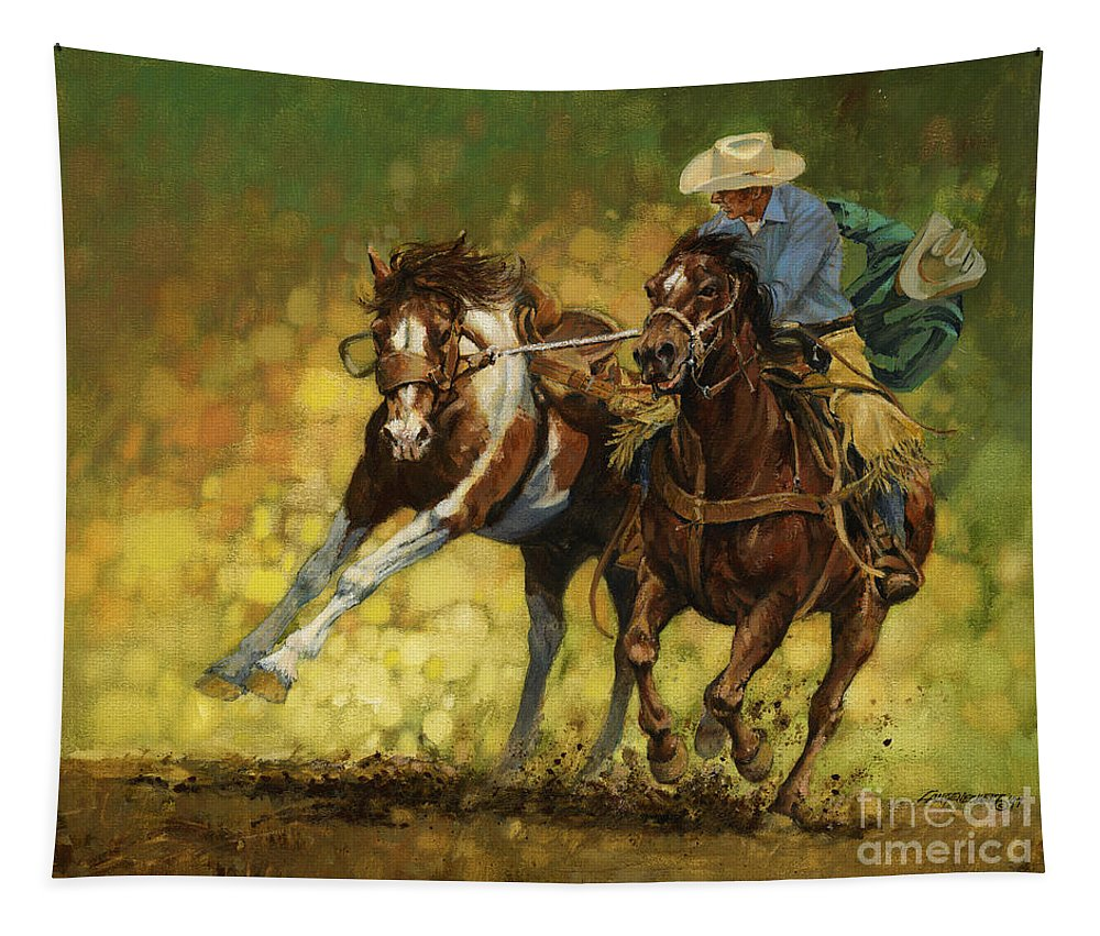 Don Langeneckert Tapestry featuring the painting Rodeo Pickup by Don Langeneckert