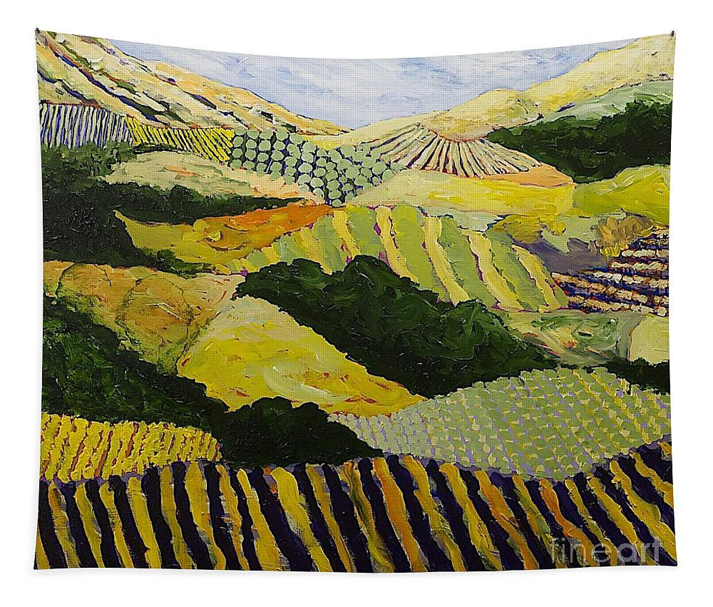 Landscape Tapestry featuring the painting Delta Fields by Allan P Friedlander