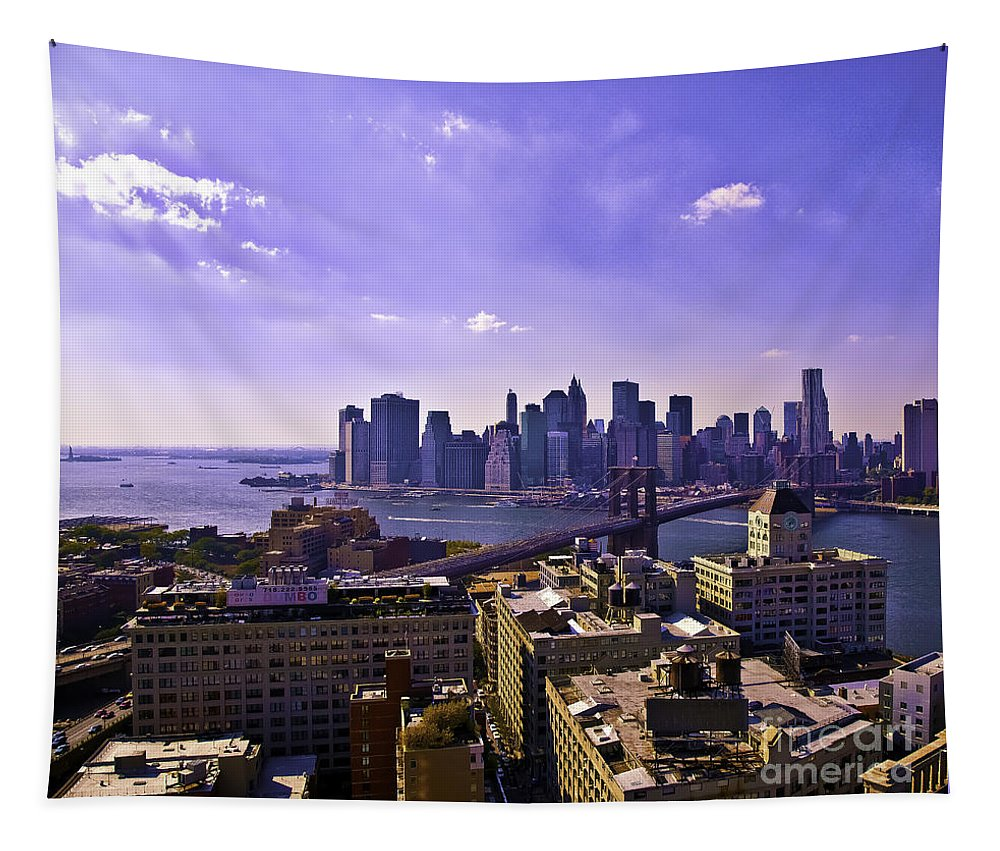 Dumbo Tapestry featuring the photograph Dumbo View Of Lower Manhattan by Madeline Ellis