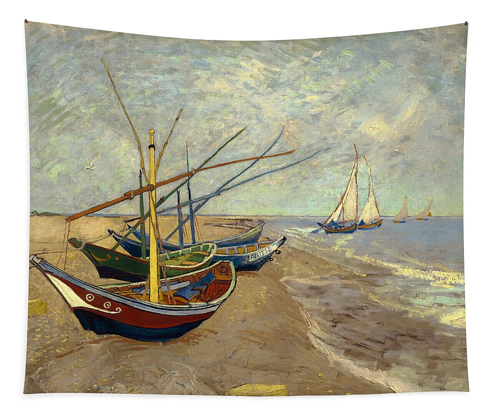 Painting Tapestry featuring the painting Fishing Boats On The Beach by Mountain Dreams