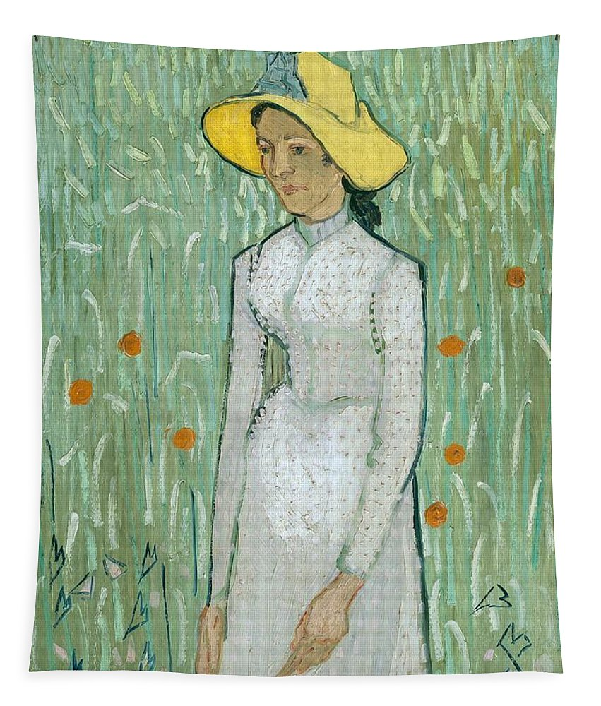 Female; Woman; Young; Poppy Field; Dress; Hat; Summer; Wild Flowers; Yellow; Hats Tapestry featuring the painting Girl In White by Vincent van Gogh