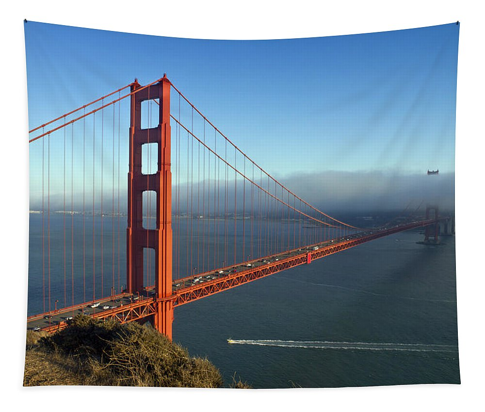 America Tapestry featuring the photograph Golden Gate Bridge by Melanie Viola