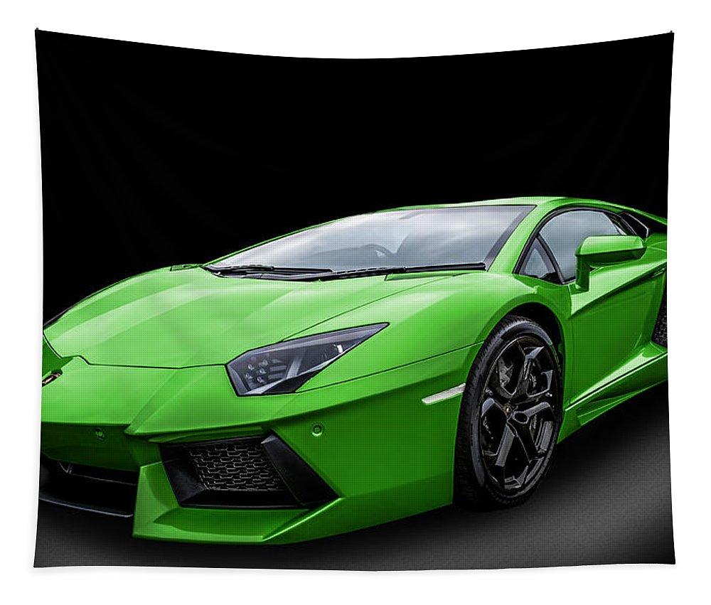 Lamborghini Tapestry featuring the photograph Green Aventador by Matt Malloy