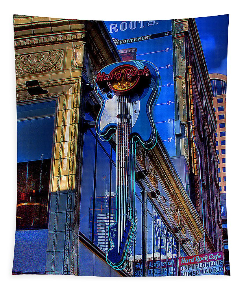 Hard Rock Cafe Tapestry featuring the photograph Hard Rock Cafe - Seattle by David Patterson