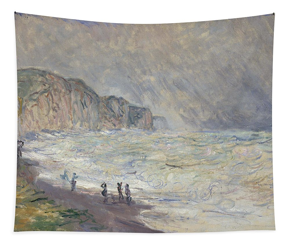 Claude Monet Tapestry featuring the painting Heavy Sea At Pourville by Claude Monet