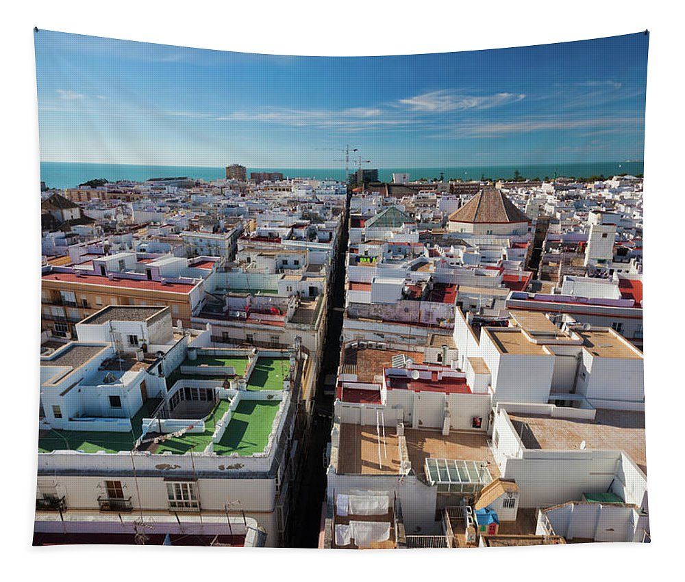 Photography Tapestry featuring the photograph High Angle View Of A City, Cadiz by Panoramic Images
