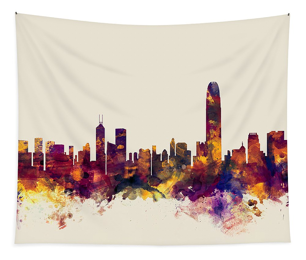 Watercolour Tapestry featuring the digital art Hong Kong Skyline by Michael Tompsett