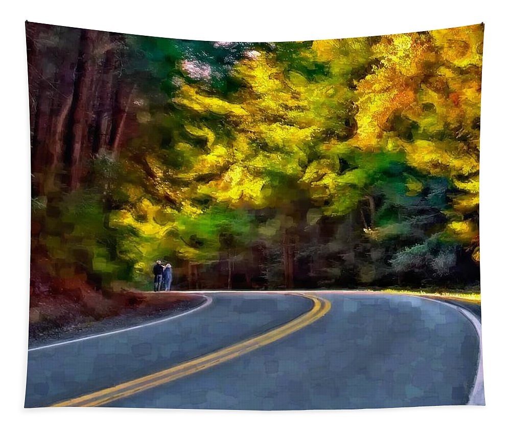 Anaan Valley Tapestry featuring the photograph Into The Sunset Watercolor by Steve Harrington