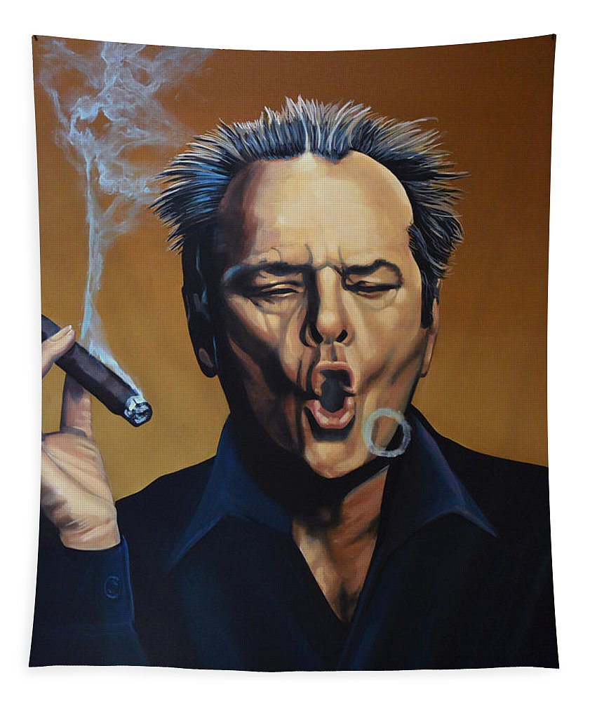 Jack Nicholson Tapestry featuring the painting Jack Nicholson Painting by Paul Meijering