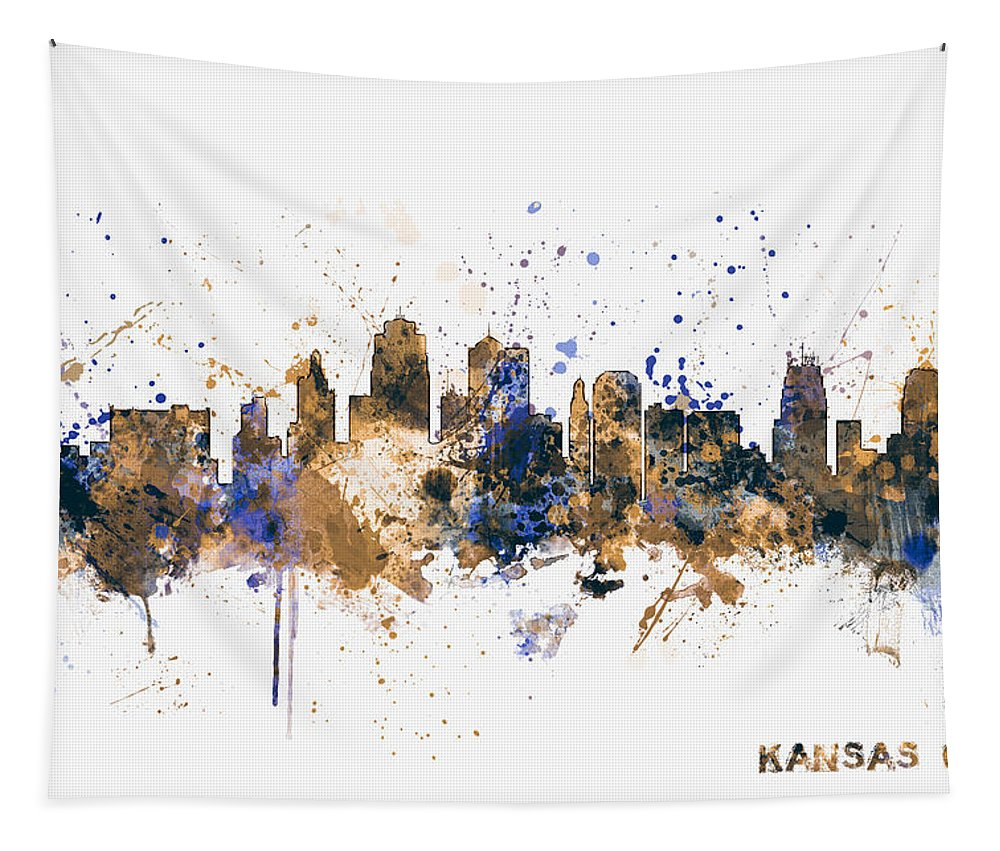 United States Tapestry featuring the digital art Kansas City Skyline by Michael Tompsett