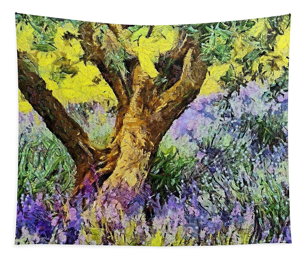 Landscapes Rural Scenes Tapestry featuring the painting Lavender And Olive Tree by Dragica Micki Fortuna