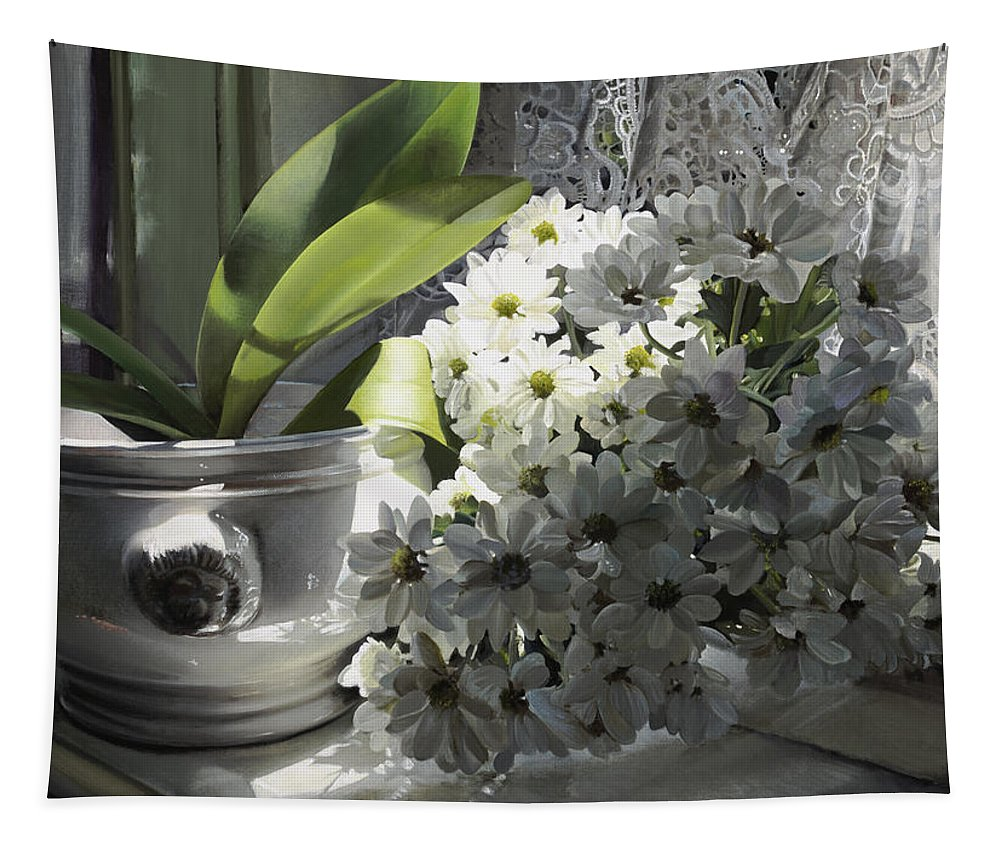 Still Life Tapestry featuring the painting Le Mie Margherite by Danka Weitzen