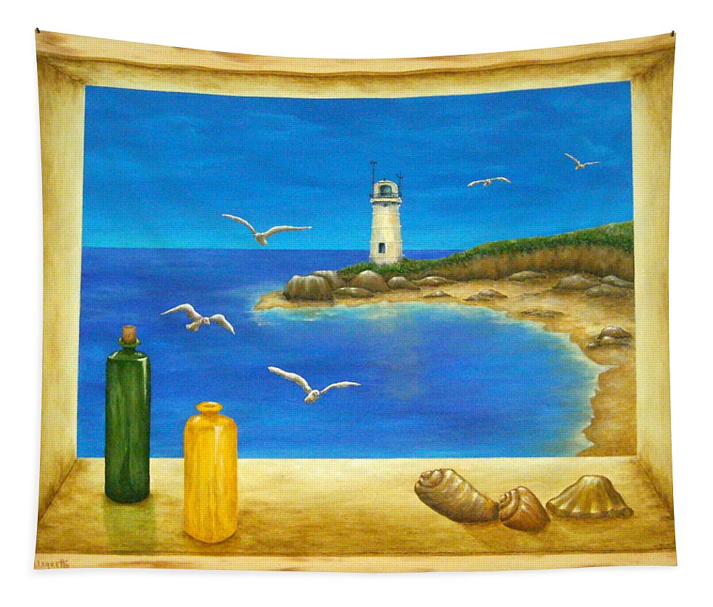 Pamela Allegretto Tapestry featuring the painting Lighthouse View by Pamela Allegretto