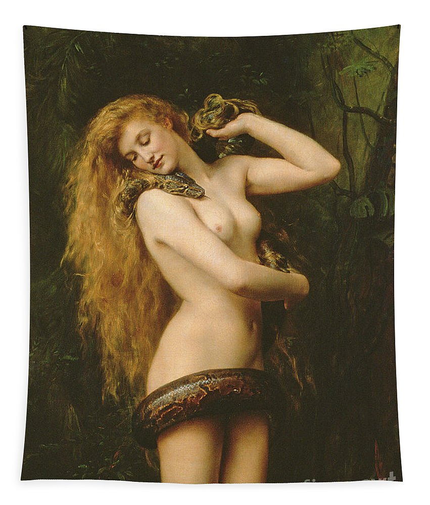 Nude Tapestry featuring the painting Lilith by John Collier