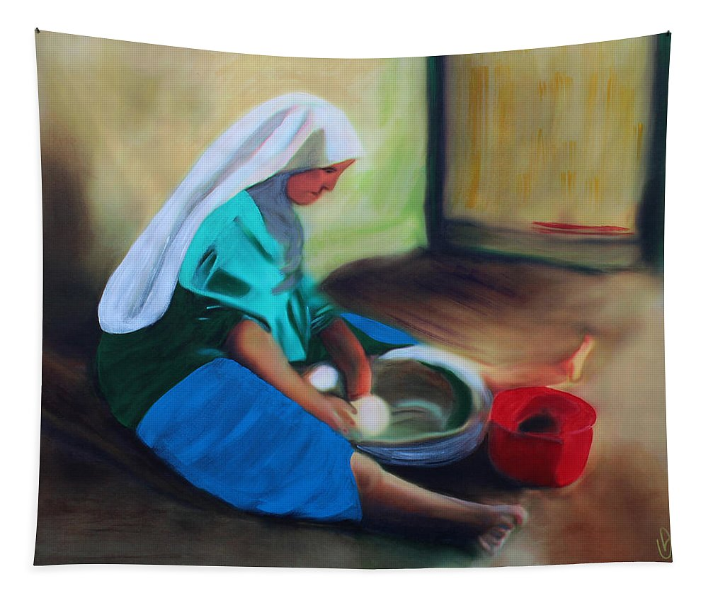 Woman Tapestry featuring the painting Making Bread by Deborah Boyd