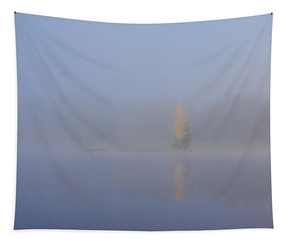 Finland Tapestry featuring the photograph Misty Morning On A Lake. The Yellow Birch by Jouko Lehto