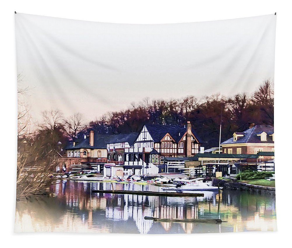 April; Morning; On; Boathouse; Row; Philadelphia; Philly; Fairmount; Park; Lagoon; Spring Tapestry featuring the photograph On Boathouse Row by Bill Cannon