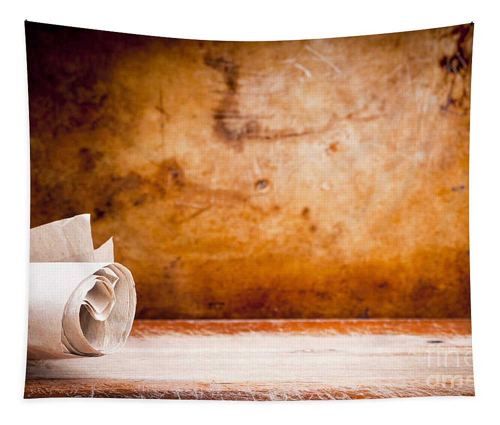 Ancient Tapestry featuring the photograph Old Parchment Paper Scroll by Tim Hester
