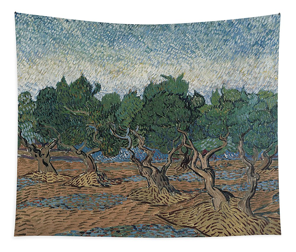 Vincent Van Gogh Tapestry featuring the painting Olive Grove by Vincent van Gogh