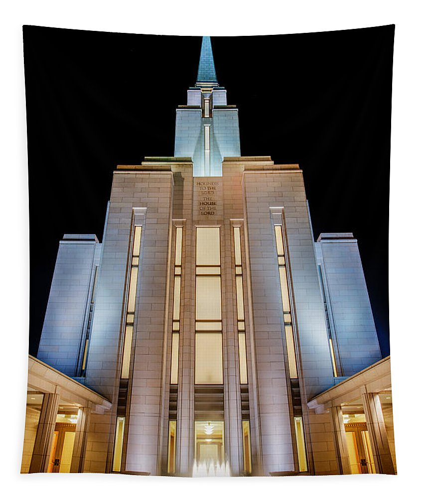 Oquirrh Mountain Temple Tapestry featuring the photograph Oquirrh Mountain Temple 1 by Chad Dutson