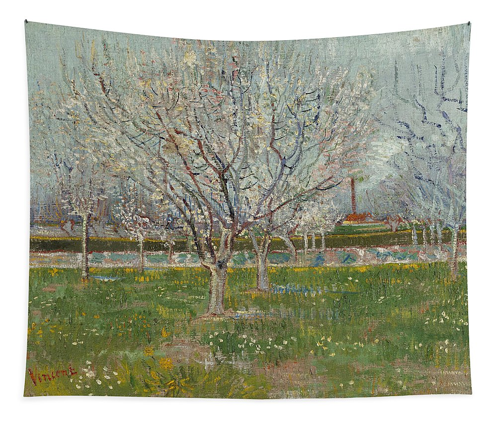 Vincent Van Gogh Tapestry featuring the painting Orchard In Blossom by Vincent Van Gogh