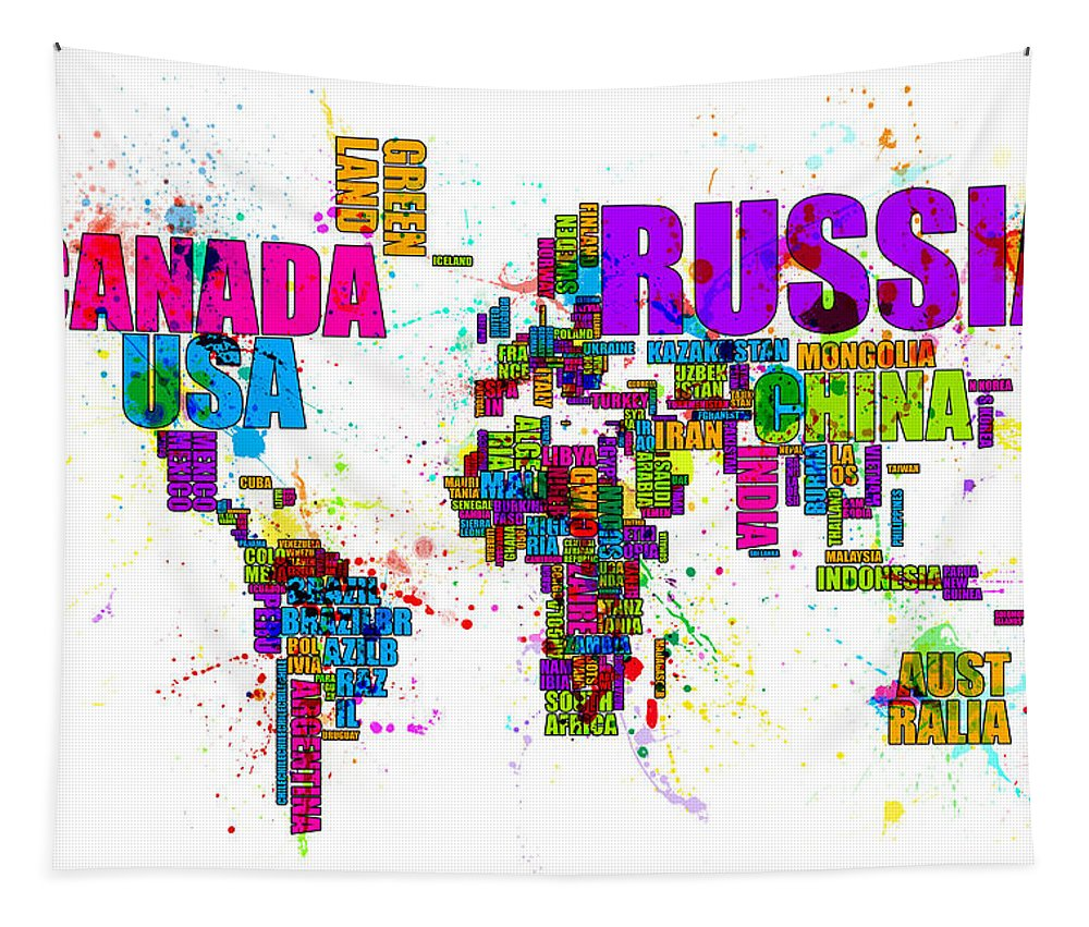 Map Of The World Tapestry featuring the digital art Paint Splashes Text Map Of The World by Michael Tompsett