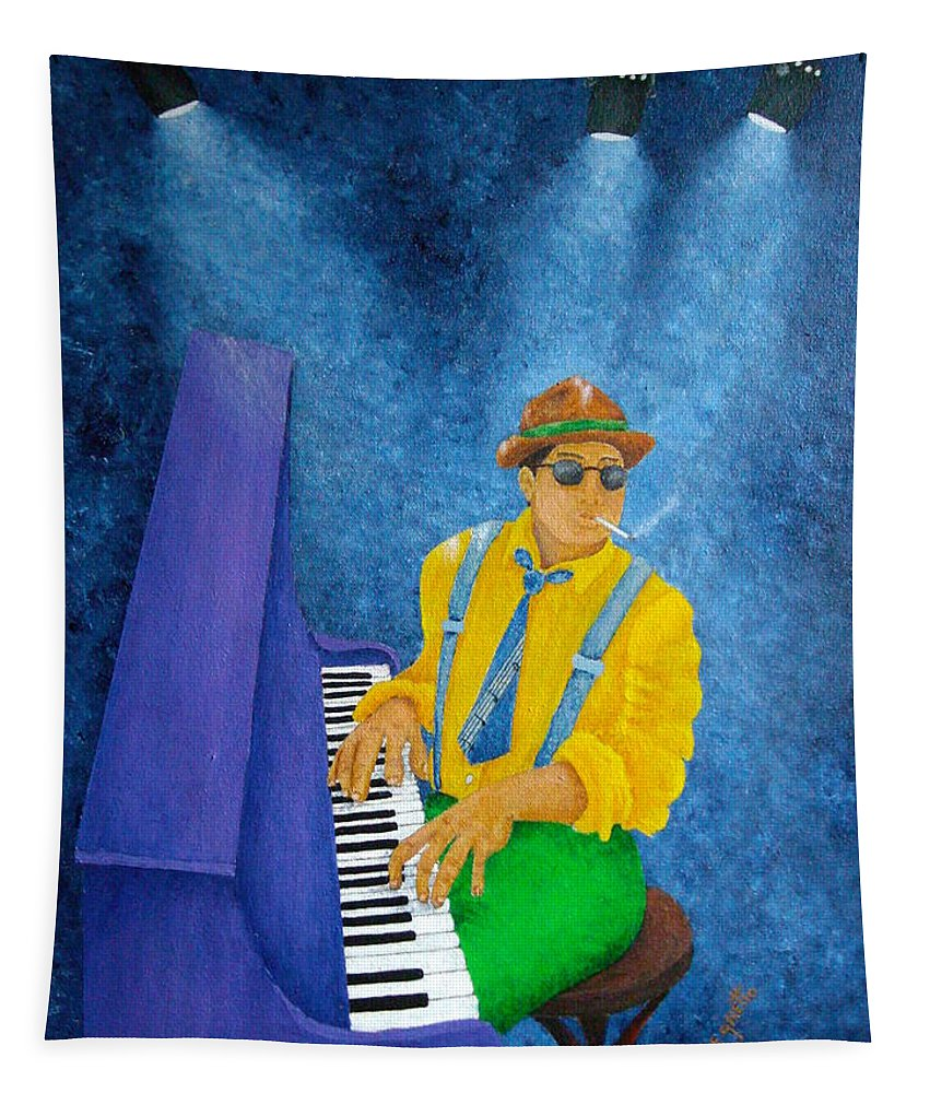 Pamela Allegretto Tapestry featuring the painting Piano Man by Pamela Allegretto