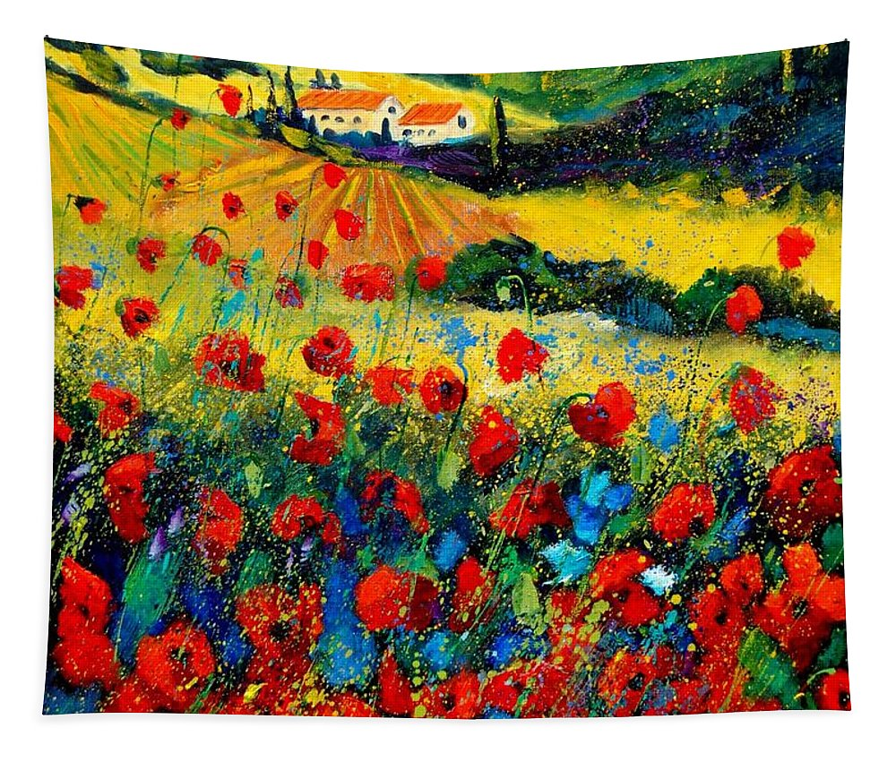 Flowersn Landscape Tapestry featuring the painting Poppies In Tuscany by Pol Ledent