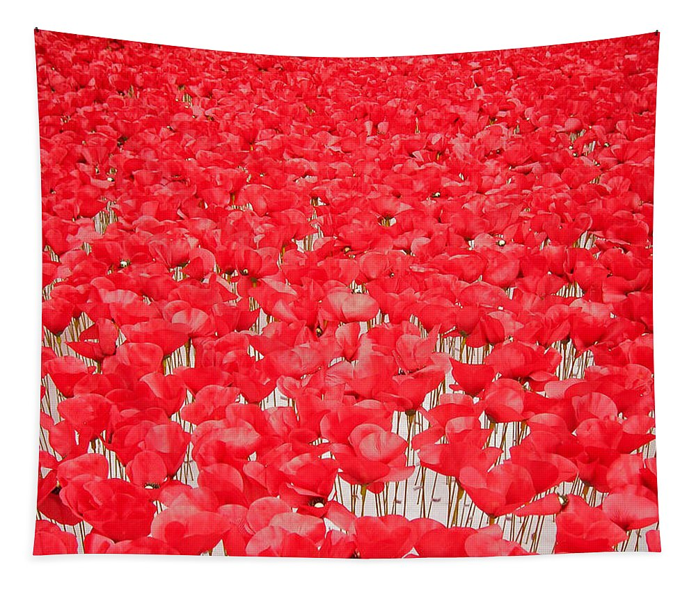 Europe Tapestry featuring the photograph Poppy Meadow ... by Juergen Weiss