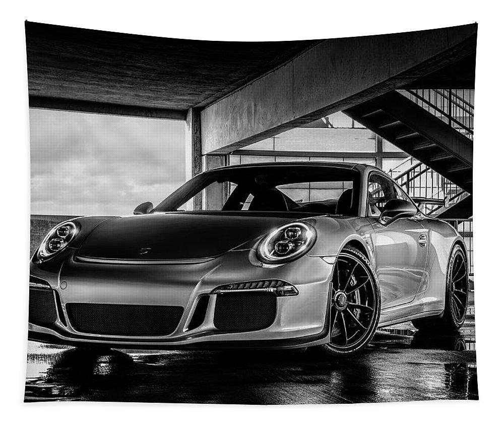 Porsche Tapestry featuring the digital art Porsche 911 Gt3 by Douglas Pittman