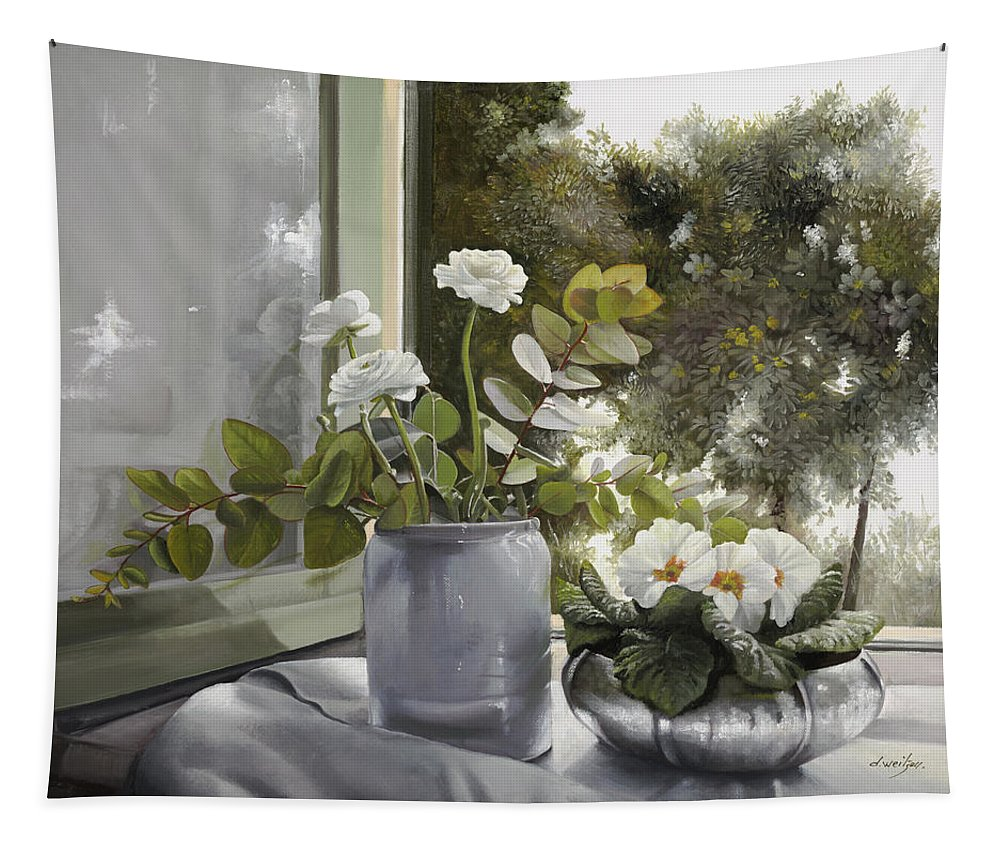 Still Life Tapestry featuring the painting Ranuncoli E Primule by Danka Weitzen
