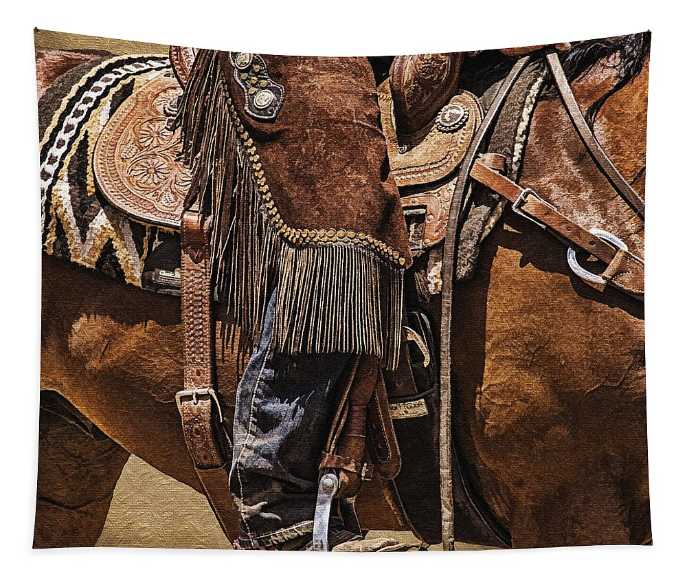 Mounted Shooting Tapestry featuring the photograph Ready To Ride by Priscilla Burgers