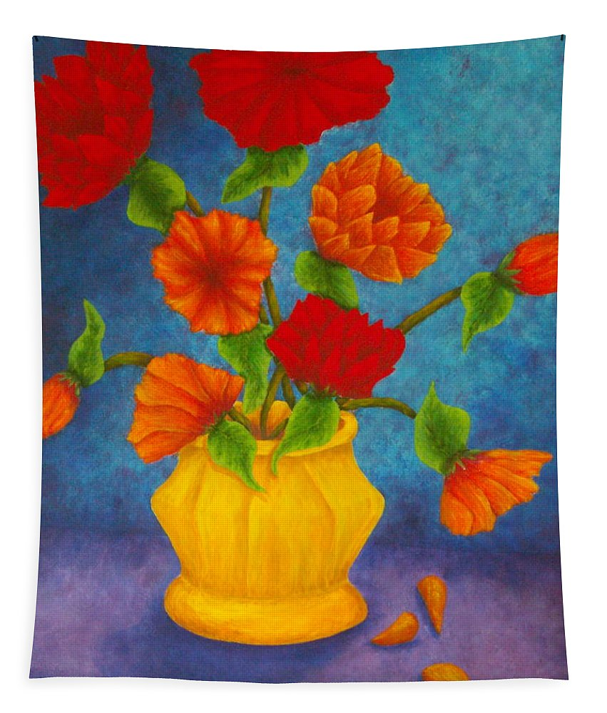 Pamela Allegretto Tapestry featuring the painting Red And Orange Flowers by Pamela Allegretto