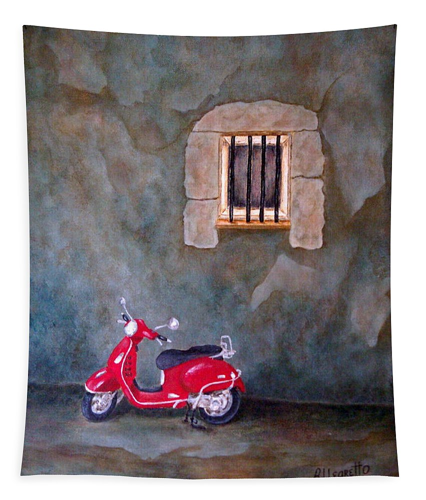 Allegretto Art Tapestry featuring the painting Red Vespa by Pamela Allegretto