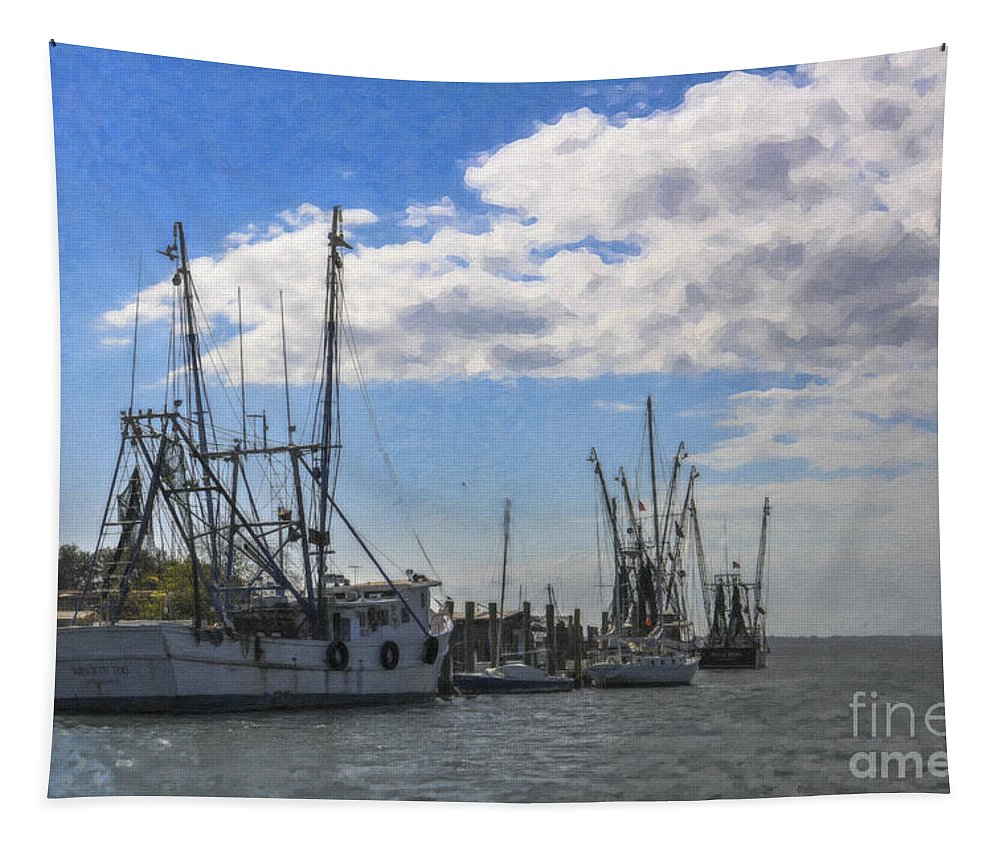 Shrimp Boats Tapestry featuring the photograph Shrimp Boats On Shem Creek by Dale Powell