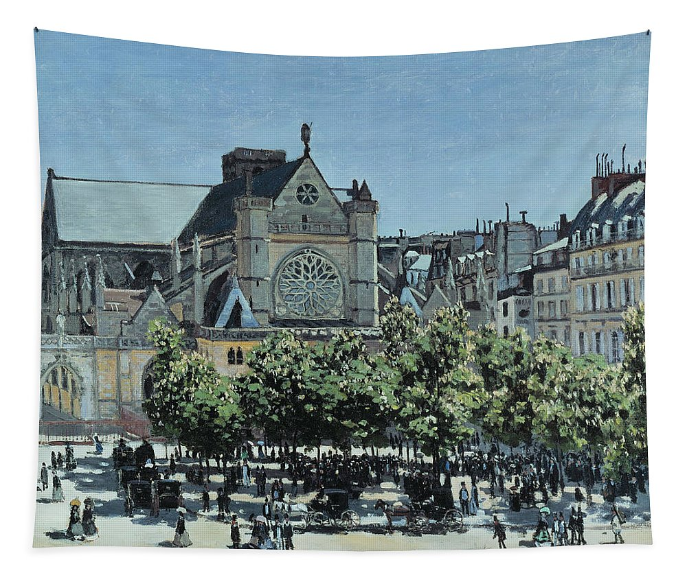 Claude Monet Tapestry featuring the painting St. Germain L'auxerrois by Claude Monet