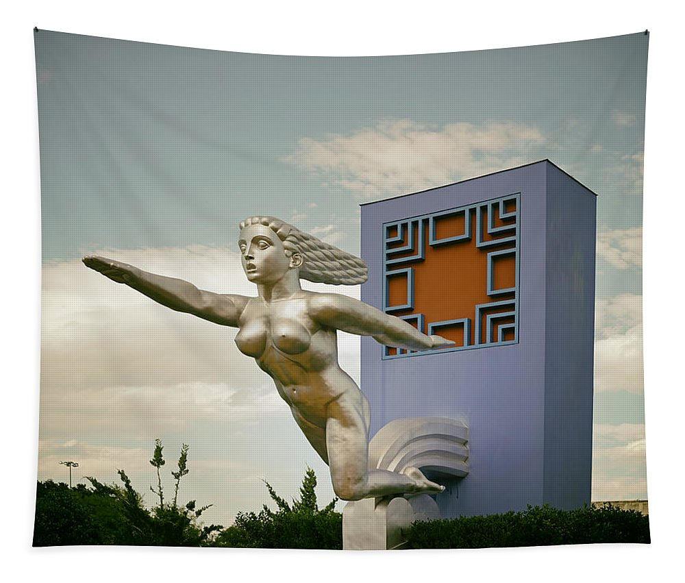Dallas Tapestry featuring the photograph Statue At Fair Park - Dallas by Mountain Dreams