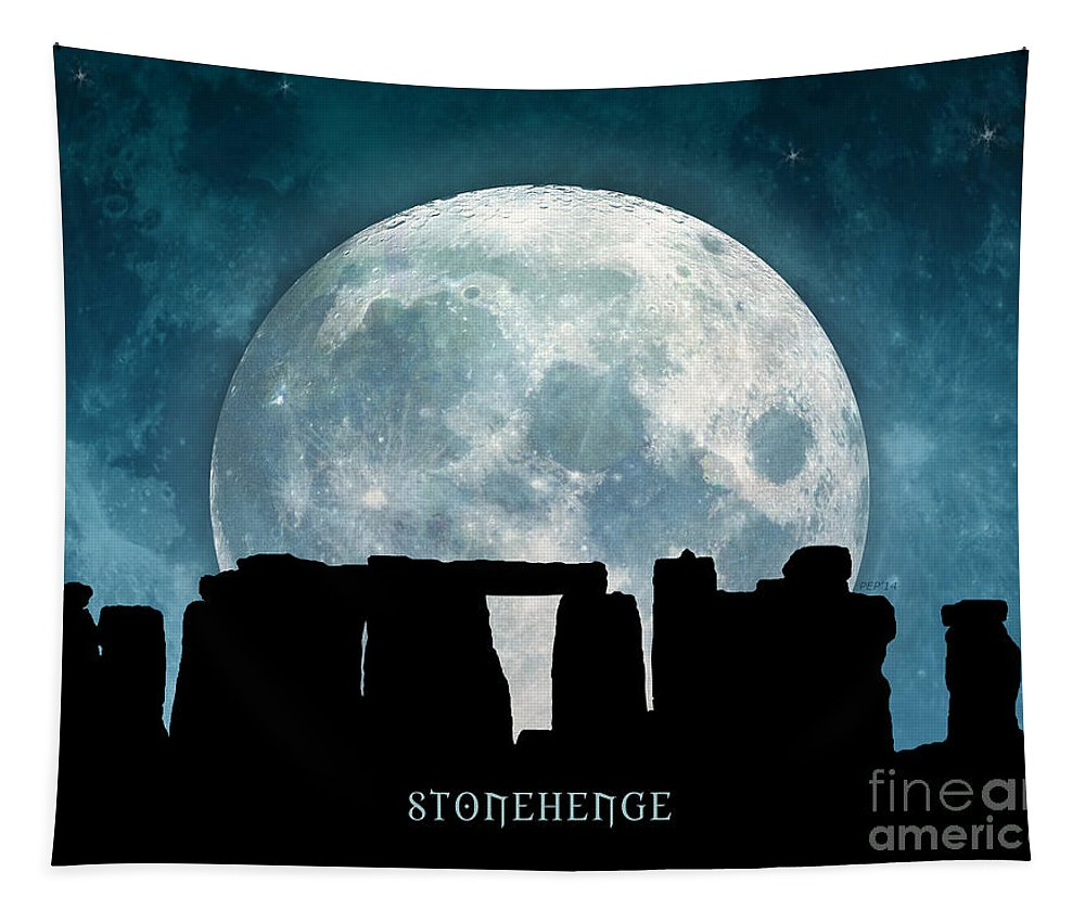 Stonehenge Tapestry featuring the digital art Stonehenge by Phil Perkins