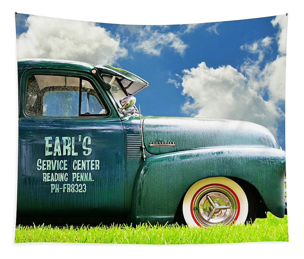 Classic Cars Tapestry featuring the photograph Summer Field Pickup 1 by Laura Fasulo