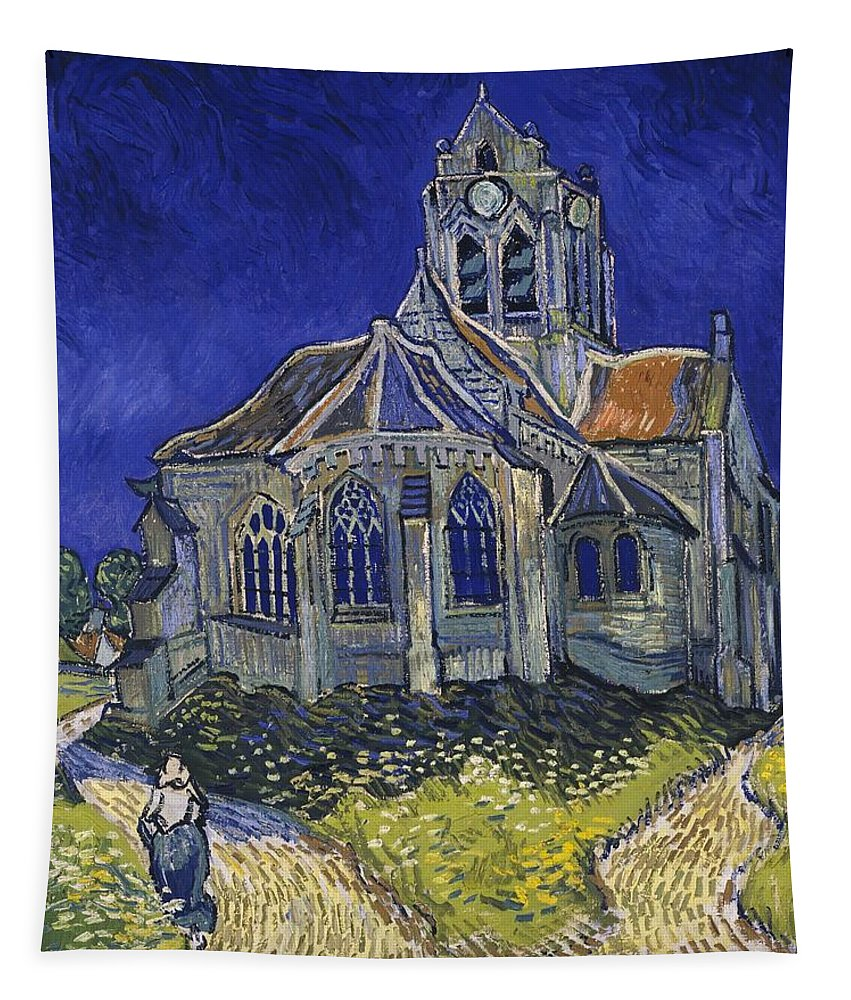 Vincent Van Gogh Tapestry featuring the painting The Church At Auvers by Vincent Van Gogh