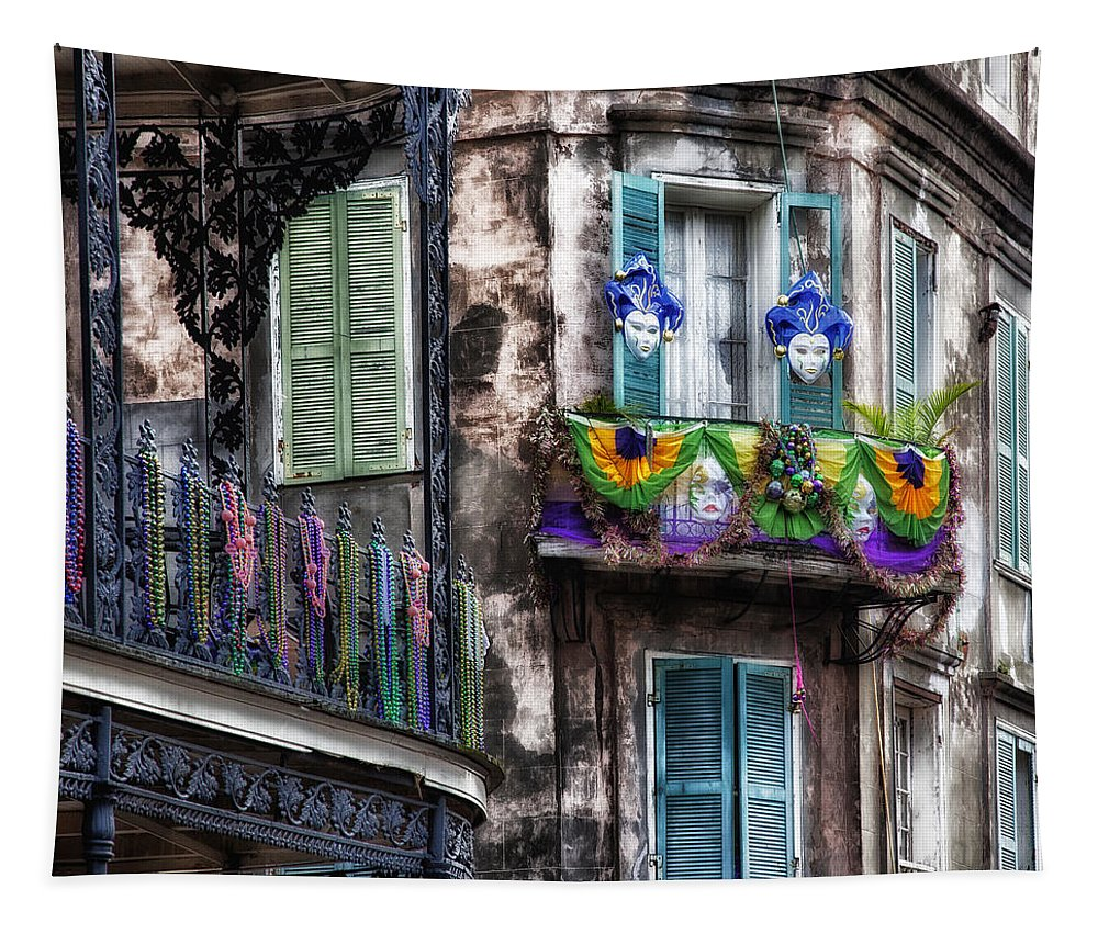 Mardi Gras Tapestry featuring the photograph The French Quarter During Mardi Gras by Mountain Dreams