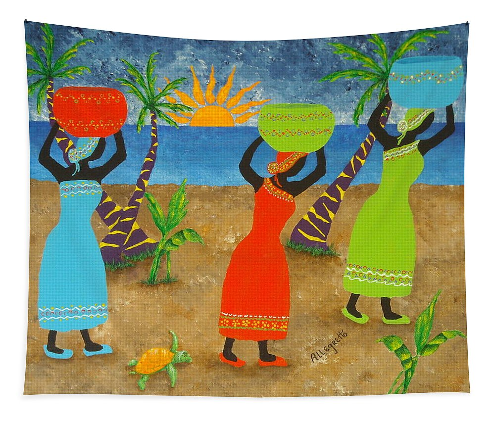 Allegretto Art Tapestry featuring the painting To Market by Pamela Allegretto